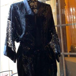 Victoria's Secret black lace kimono robe-one size